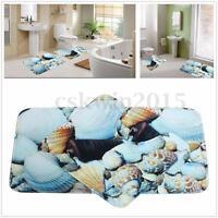 2Pcs Sea Beach Blue Shell Bath Rug Toilet Rug Non-Slip Bathroom Contour Mat Set