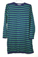 Cotton Emporium Womens Stripe Knit Sweater Dress Navy Green Crew Neck Knit M