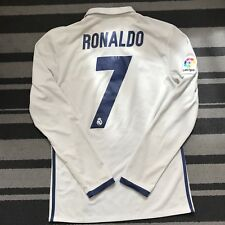 Real Madrid FC Ronaldo 7 2016/17 Adidas Home Shirt à Manches Longues Taille S CWC patch