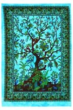 BLUE TREE of LIFE Mandala Wall Hanging Hippie Bohemian Cotton Poster Tapestry