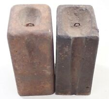 Set Pair Of Antique Triple Decker Weight Driven Clock Weights Parts Repair