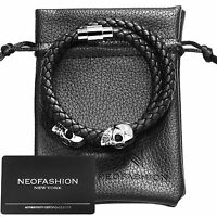 Mens Twin Skull Double Wrap PREMIUM NAPPA Leather Braided Bracelet Steel BLACK