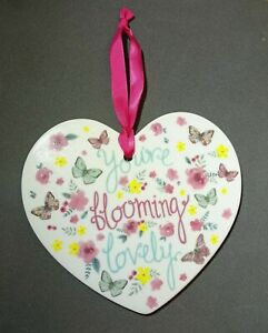 You're Blooming Lovely Ceramic Heart Shape Plaque Hanging Sign Gift 12cm