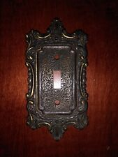 Vintage National Lock Antique Brass Finish Metal Single Switch Plate Cover
