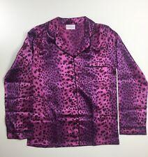 Ladies Purple Leopard Print Size 16 Satin Silky Pyjama Top PJs