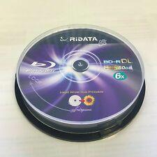 10 RIDATA 6X Blank Blu-Ray BD-R DL Dual Double Layer 50GB Inkjet Printable Disc