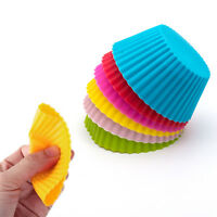 12 Pcs Silicone Round Cup Cake Muffin Cupcake Cases Baking Cup Baking Moulds