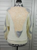 Vintage Nannell Knit Crop Sweater Womens Large Angora Wool Pink Ivory Hand Knit