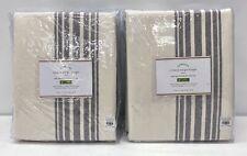"2 NEW Pottery Barn Riviera Stripe 50 x 84"" PoleTop BLACKOUT Drapes~Charcoal Gray"