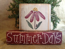 Primitive Country Flower Summer Days Ladybug 2 pc Shelf Sitter Wood Block Set