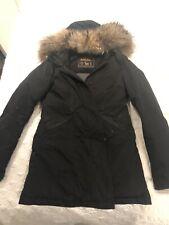 Woolrich Parka Jacket Coat S Small Black Fox Fur Women RRP 700£