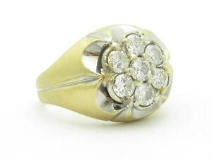 14k White & Yellow Gold & White Diamond Cluster Halo Design Men's Band Ring Gift