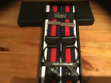 PREMIUM STRIPED NAVY/RED RIGID BARATHEA BRACES WITH BLACK LEATHER ENDS