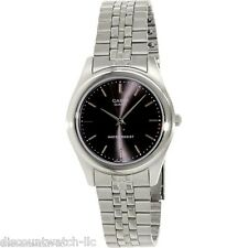 Casio MTP1129A-1A Mens Stainless Steel Dress Watch Black Dial Luminous New