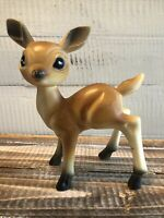 "Vintage Christmas 6"" Hard Plastic Big Blue Eye Reindeer Deer Figurine Bambi 60's"