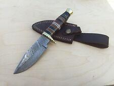 Custom Hand Made Full Tang Folded Steel Damascus Hunting Knife and Sheath