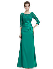 """LIZZY"" STUNNING SIZE 12 JADE GREEN FRENCH LACE SATIN EVENING GOWN DRESS BALL"