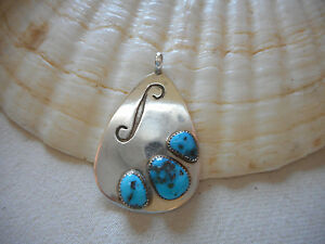 Vintage Sterling Silver Southwest Turquoise Pendant Signed M   RE3632