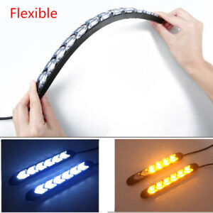 2 Pcs Flexible 108LED Car SUV White/Amber Switchback Flowing Lights Flasher DRL