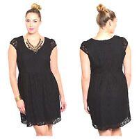 WOMENS PLUS DRESS 1X NWT LACE BLACK XL 14 16 CUTE NEW CLASSY FALL DEAL