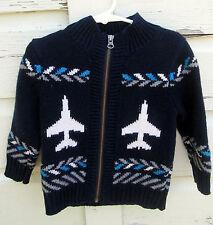 Baby Gap Boys Blue Airplane Heavy Wool Blend Full Zip Sweater Size 2 Years