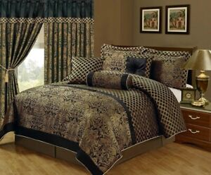 Silky Black Gold Jacquard Floral Comforter Cal King Queen 7 pcs Set or Curtain