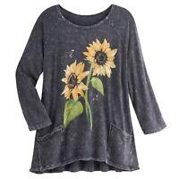 Jess & Jane Women's Sunflowers Tunic Top - Gray Raglan Sleeve Shirt with Pockets