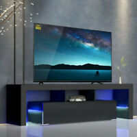 "51""High Gloss TV Unit Cabinet Stand with LED Lights Shelves Home Furniture Black"
