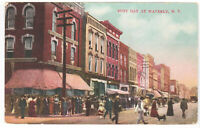 Waverly NY Vintage 1908 Postcard Busy Day Street Scene Ladies Shoping Stores old