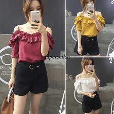 Korean Summer Women Chiffon Off Shoulder Casual Loose Tops Tunic Blouse T Shirt