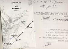 CONCORDE Air France menu présidentiel