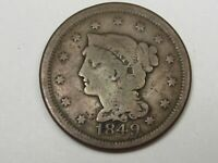 1849 US Braided Hair Large Cent Coin.  #17