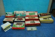 9 pc O Scale Trains Plasticville Houses Firehouse Church Frosty Rancher Post Off