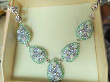 Opal Tansanit Smaragd Rubin Collier Kette 925 Sterlingsilber 585 Weißgold vergol