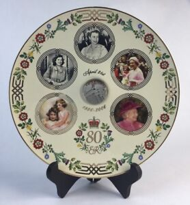 '80 Glorious Years' Queen's 80th Birthday Royal Commemorative Coin Plate