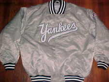 Majestic MLB AL East New York Yankees Silver Black Scripted Nylon Jacket 2XL
