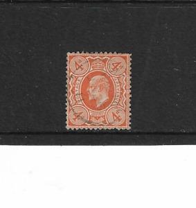 1902/10 GB. KING EDWARD VII - ORANGE 4p. - USED AND LIGHTLY CANCELLED.