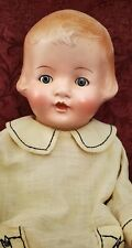 "Vintage Composition/Clothe Momma Doll Blue Tin Sleep Eyes 20"" Molded Hair"