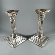 Victorian Pair of sterling silver CORINTHIAN CANDLESTICKS Sheffield 1895 HH