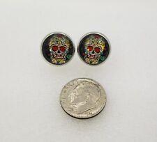 Day of the Dead  Skull Mexican Dia De Los Muertos Stud earings