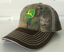 John Deere Realtree Xtra Green Camo w Brown Fabric Hat Cap Green Logo