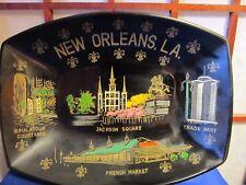 Vintage Souvenir New Orleans Louisiana Plastic Tray Fleur de Lis Along Edge