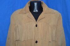 vintage 70s Genuine Leather Tassel Fringe Brown Native American Jacket Medium M
