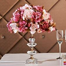 French Rose Flower Bedside Desk Table Lamp with Crystal Base Nice Decoration