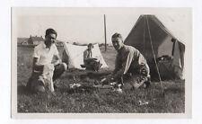 PHOTO ANCIENNE Groupe Camping Toile de Tente Vaisselle Vers 1940 Vacances
