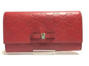 Auth GUCCI Guccissima 388679 Red Gold Leather & Hardware Long Wallet