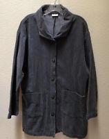 Habitat Clothes To Live In Jacket Women's Corduroy Lagenlook Gray Coat M/L