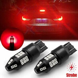 LED 7443 7444 Red Strobe Brake Stop Light Bulb Lamp Blinking Flash Legal Alert