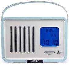 KitSound Swing Mini Portable 1920s Style Retro FM Radio with Alarm Clock - Blue