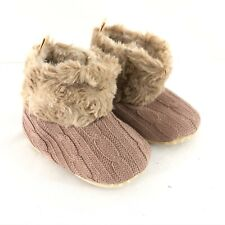 Baby Knit Booties Boots Soft Sole Faux Fur Lined Slip On Brown Size 0-6 Months